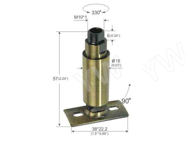 Brass Material Lamp Swivel Joint With Mounting Plate , Adjustable Swivels