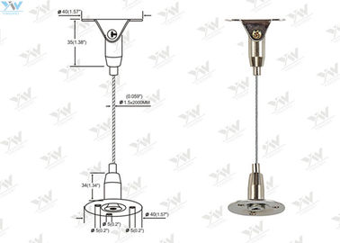 China Brass Height Adjustable Suspended Wire Lighting Kit , Ceiling Light Suspension Kit supplier