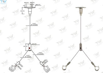 600 Mm X 600 Mm Ceiling Light Suspension Kit , Y Type Aquarium Hanging Kit With Hooks