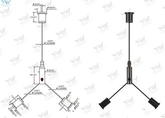 Black Cable Suspension Kits Y - Type Cable Cross For 600 Mm X 600 Mm LED Panel