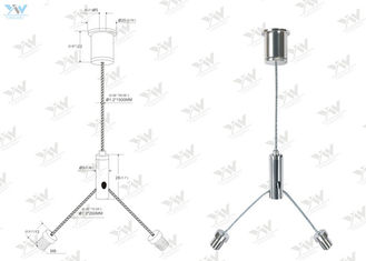 Galvanized / Stainless Steel Wire Suspension Kit , Y - Cable Track Light Suspension Kit
