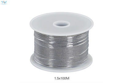 China 304 Stainless Steel Uncoated Wire Rope In Reel 1.5 mm x 100 Meters supplier