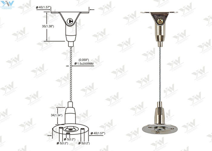 Brass Height Adjustable Suspended Wire Lighting Kit
